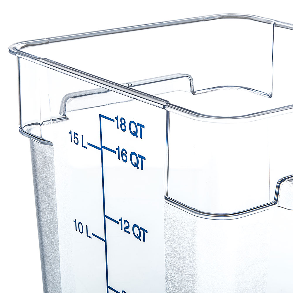 Carlisle 1072507 18-qt Square Food Storage Container - Clear