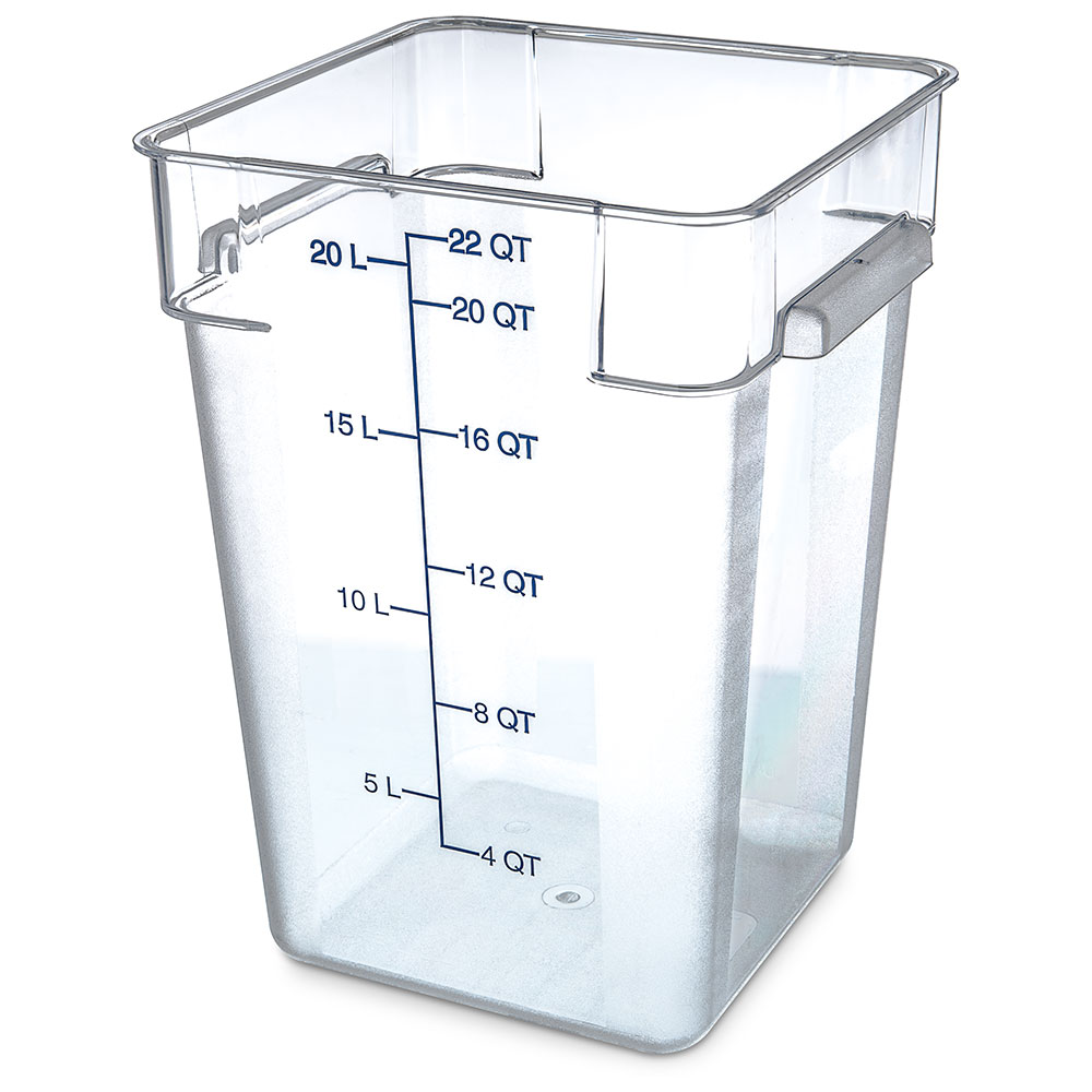 Carlisle Food Service 1072607 22-QT Square Food Storage Container NSF Clear Restaurant Supply