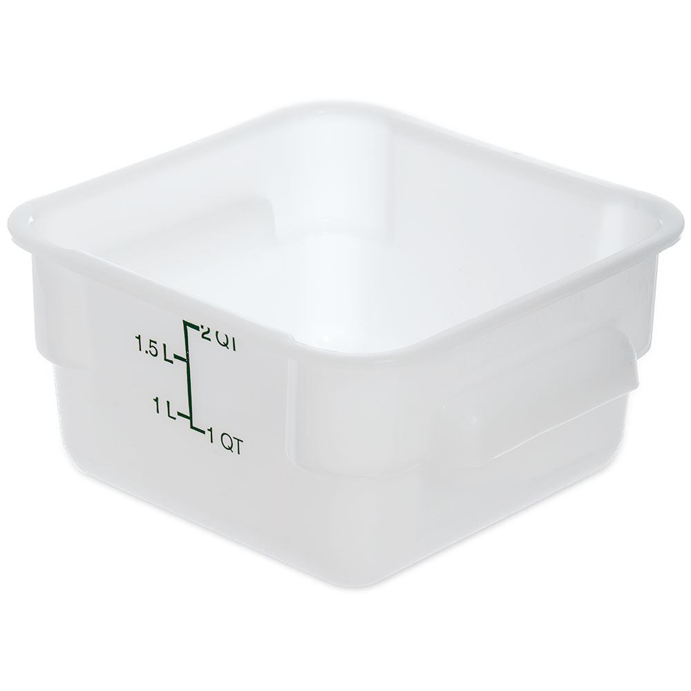 Carlisle 1073002 2-qt Square Food Storage Container - Stackable, White