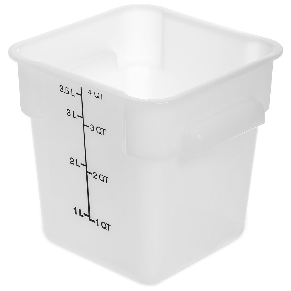Carlisle 1073102 4-qt Square Food Storage Container - Stackable, White