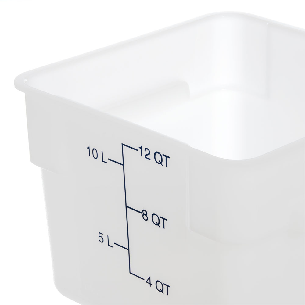 Carlisle 1073402 12-qt Square Food Storage Container - Stackable, White