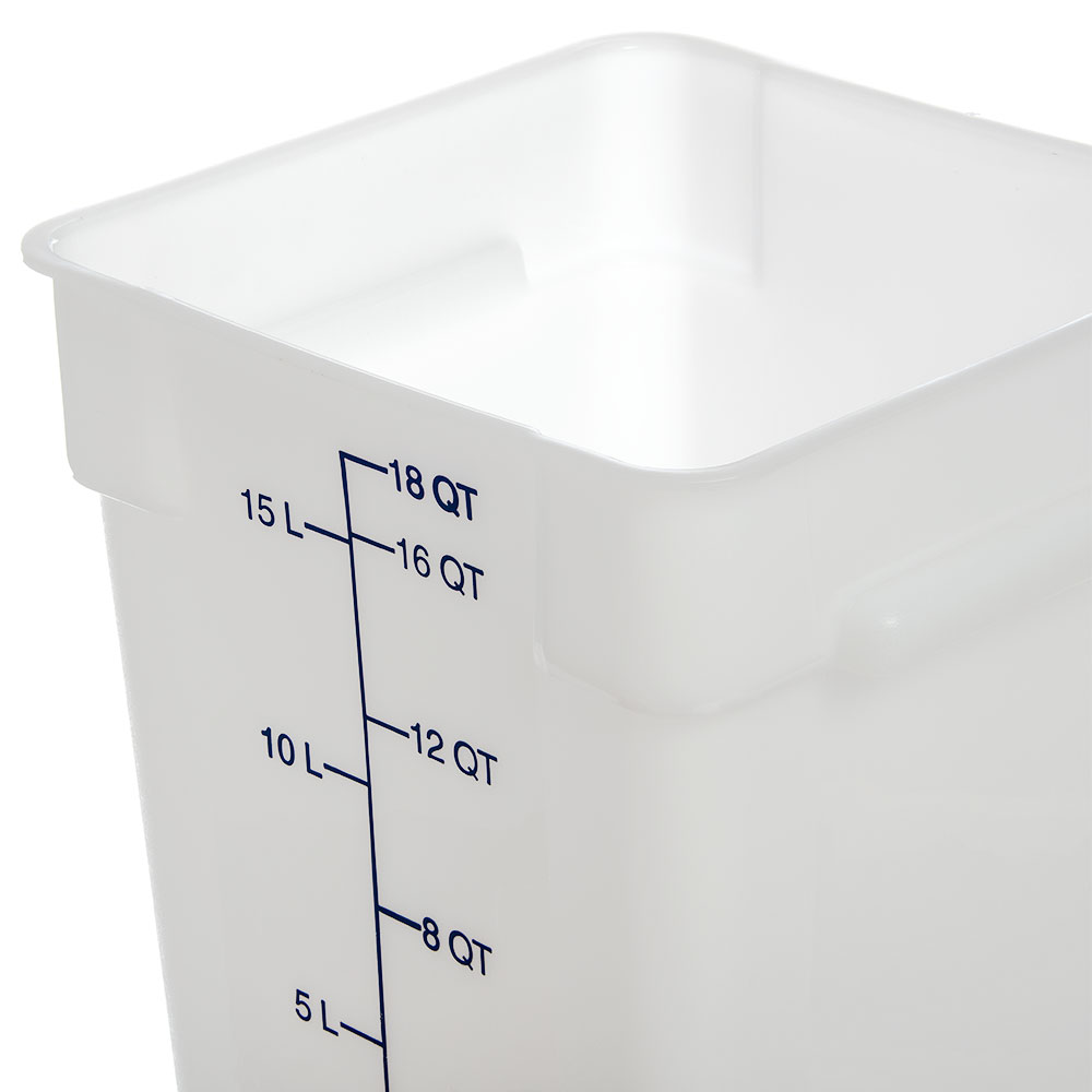 Carlisle 1073502 18-qt Square Food Storage Container - Stackable, White