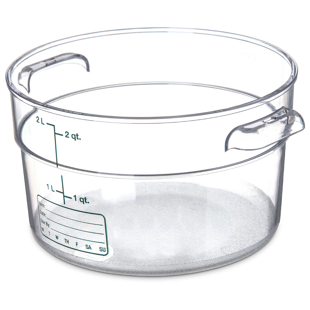 Carlisle 1076307 2-qt Round Food Storage Container - Stackable, Clear