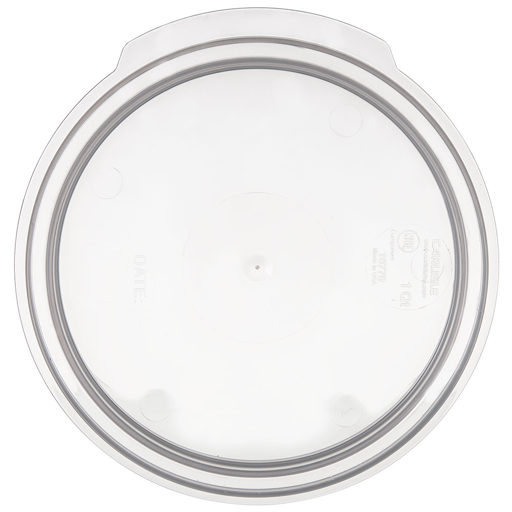 Carlisle 1077030 1-qt Round Food Storage Lid - Translucent