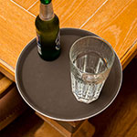 """Carlisle 1100GL076 11-1/4"""" Round Serving Tray - Rubber Liner, Tan"""