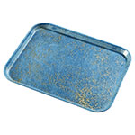 "Carlisle 1216LDFG029 Rectangular Cafeteria Tray - Low-Edge, 16-3/8x12"" Starfire Blue"