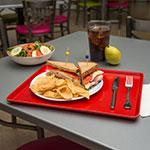 "Carlisle 1216LFG017 Rectangular Cafeteria Tray - Low-Edge, 16-3/8x12"" Red"