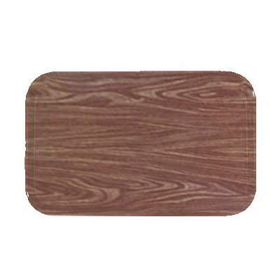 "Carlisle 1216LWFG063 Rectangular Cafeteria Tray - Low-Edge, 16-3/8x12"" Pecan Woodgrain"
