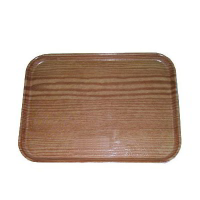 "Carlisle 1216LWFG094 Rectangular Cafeteria Tray - Low-Edge, 16-3/8x12"" Redwood Woodgrain"