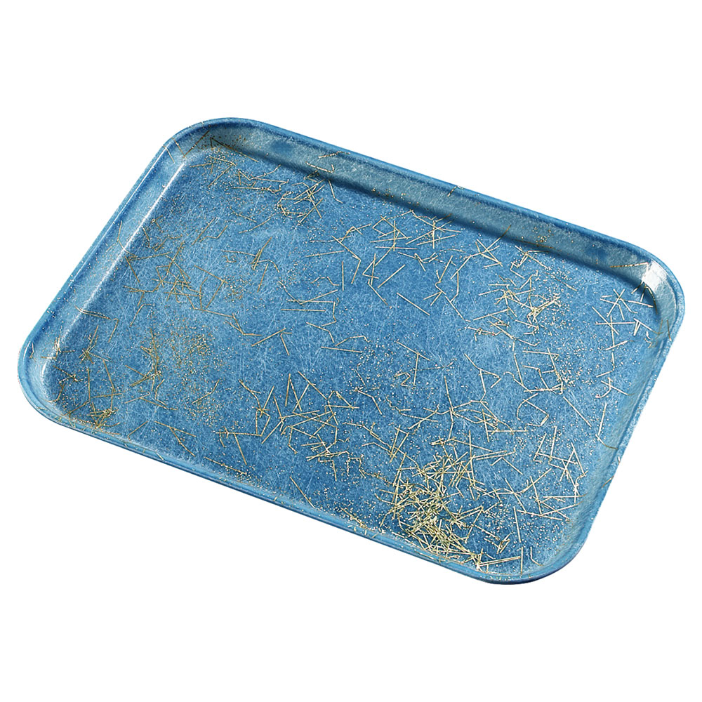 "Carlisle 1219LDFG029 Rectangular Cafeteria Tray - 19x12"" Starfire Blue"