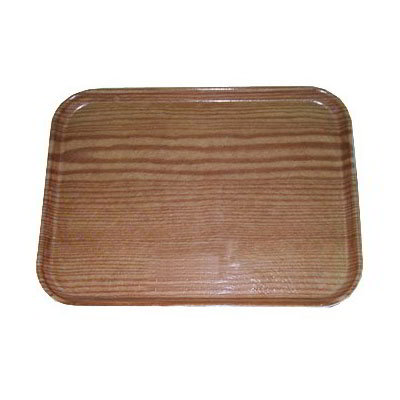"Carlisle 1222LWFG094 Rectangular Cafeteria Tray - 21x12"" Redwood Woodgrain"