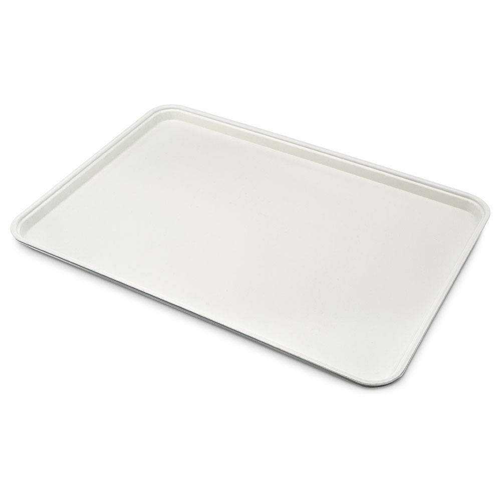 "Carlisle 1318FG001 Rectangular Display/Bakery Tray - 12-3/4x17-3/4x1"" Bone White"