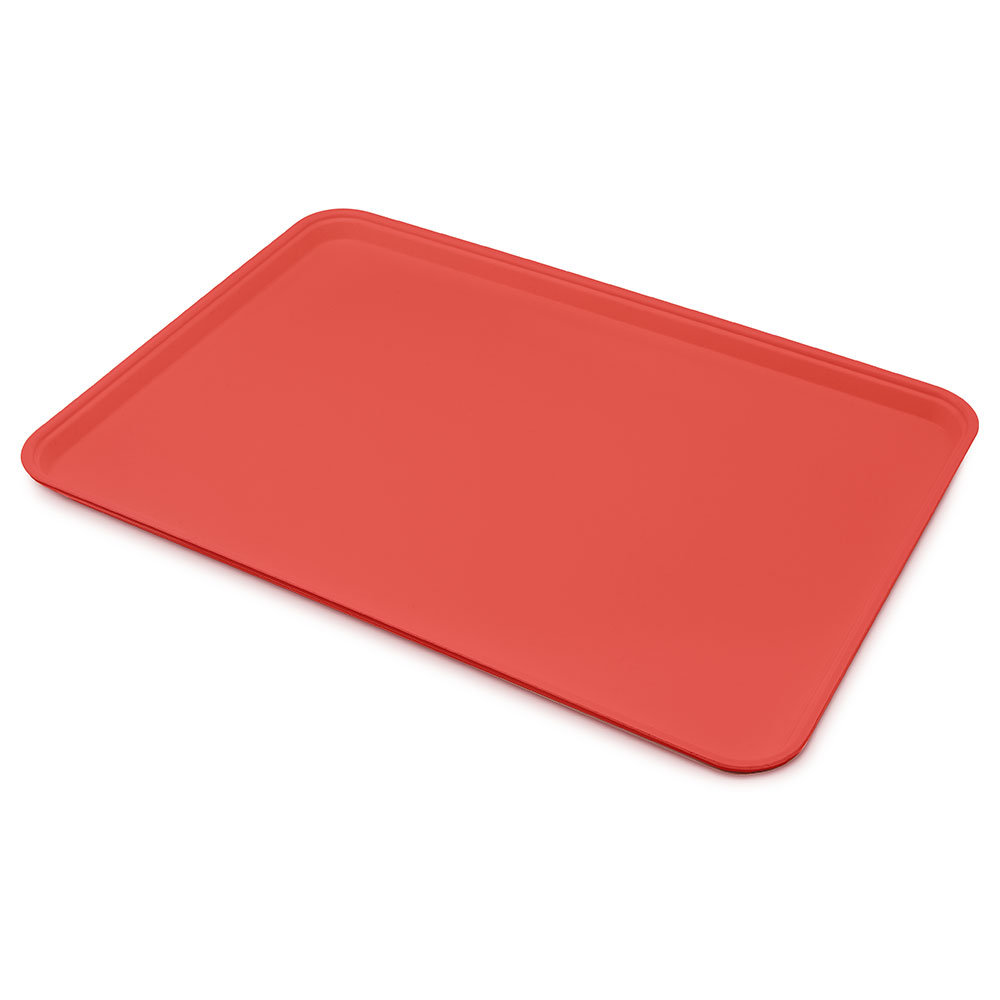 "Carlisle 1318FG017 Rectangular Display/Bakery Tray - 12-3/4x17-3/4x1"" Red"