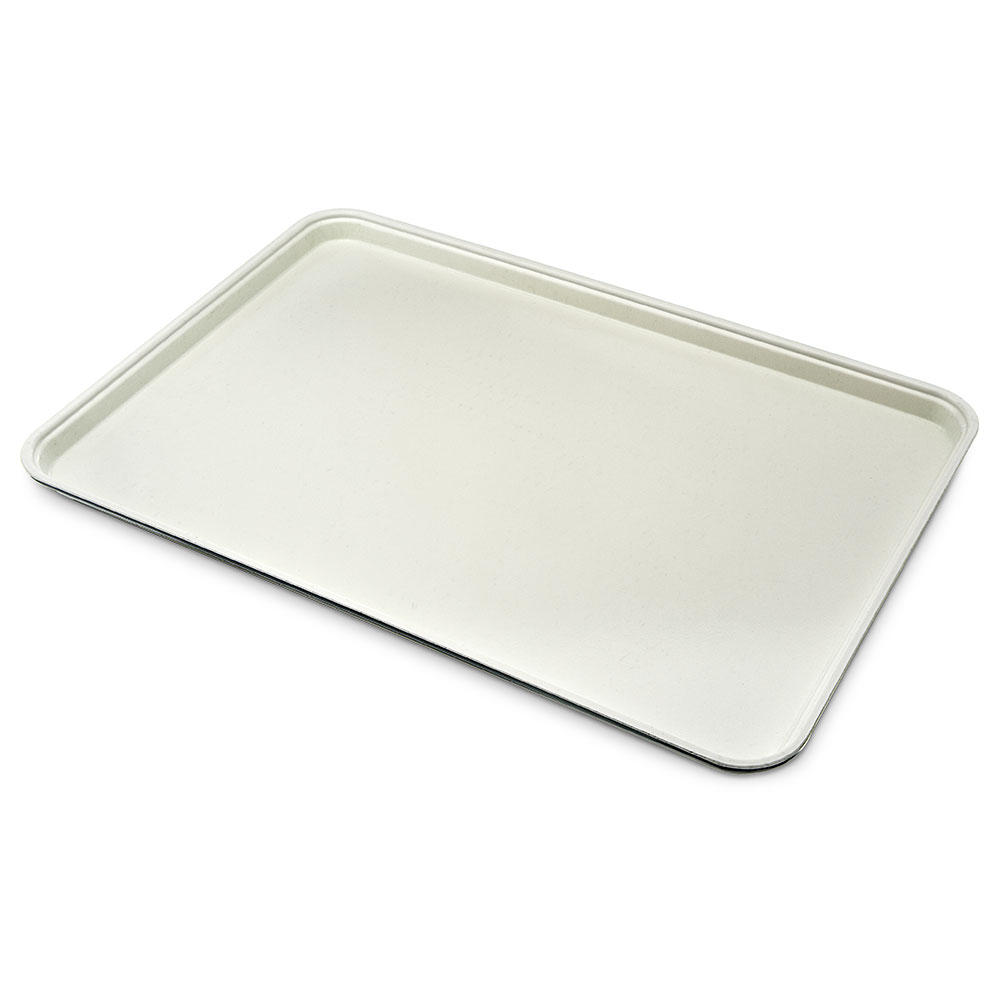 "Carlisle 1318FG022 Rectangular Display/Bakery Tray - 12-3/4x17-3/4x1"" Ivory"