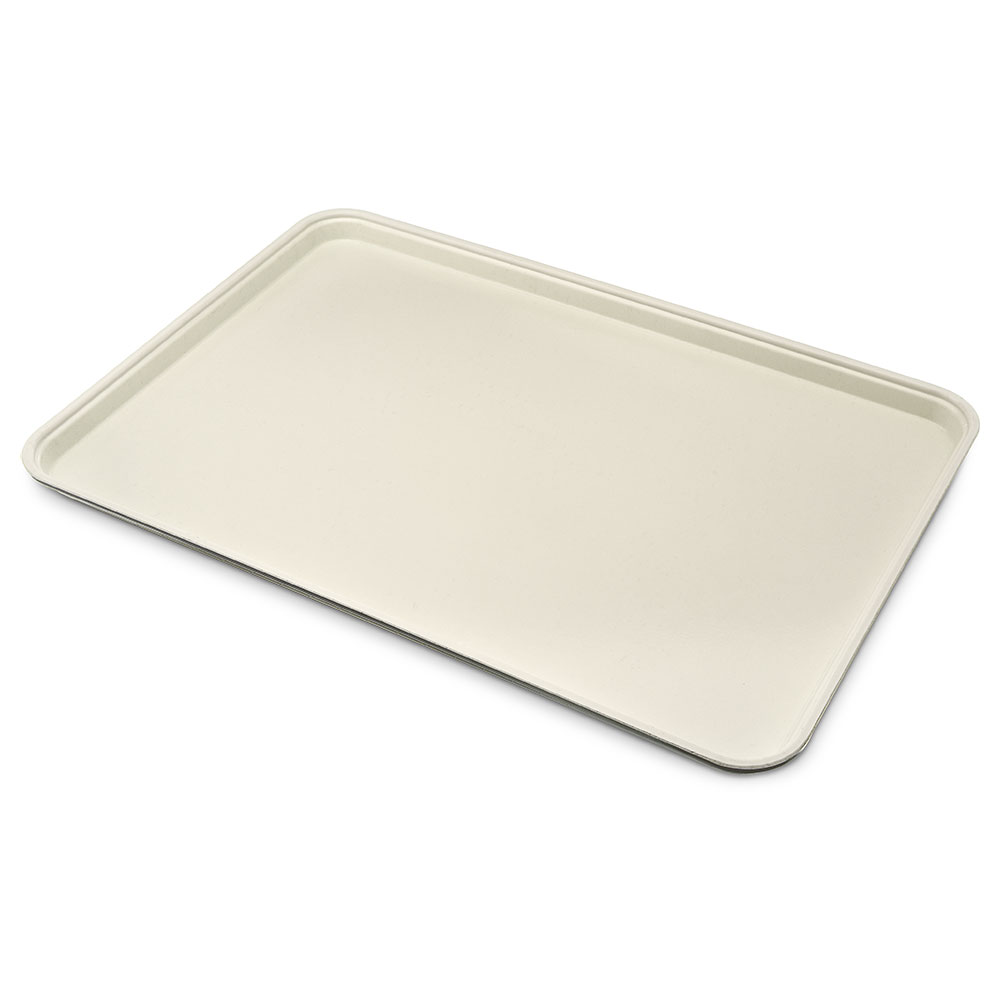 "Carlisle 1318FG025 Rectangular Display/Bakery Tray - 12-3/4x17-3/4x1"" Beige"