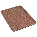 "Carlisle 1318WFG063 Rectangular Display/Bakery Tray - 12-3/4x17-3/4x1"" Pecan Woodgrain"