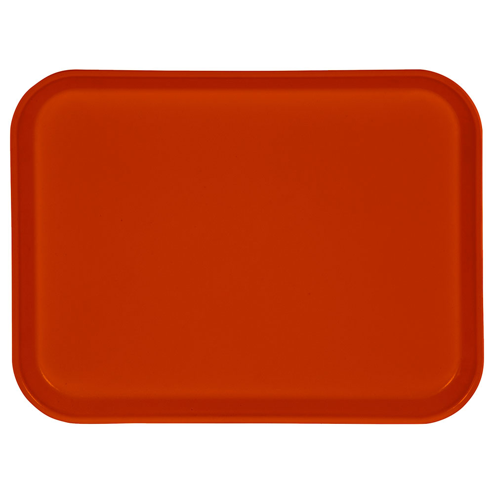 "Carlisle 1410FG018 Rectangular Cafeteria Tray - 13-3/4x10-5/8"" Orange"