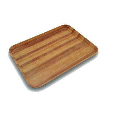 Carlisle 1419WFG092 Rectangular Cafeteria Tray - 38.5x50cm, Butcher Block Woodgrain