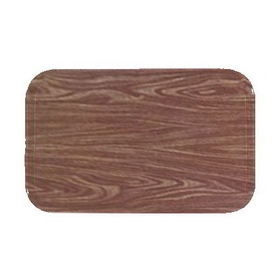 "Carlisle 1520LWFG063 Rectangular Cafeteria Tray - Low-Edge, 20-1/4x15"" Pecan Woodgrain"