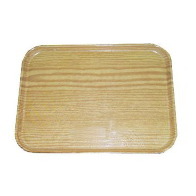 "Carlisle 1520LWFG065 Rectangular Cafeteria Tray - Low-Edge, 20-1/4x15"" Light Oak Woodgrain"