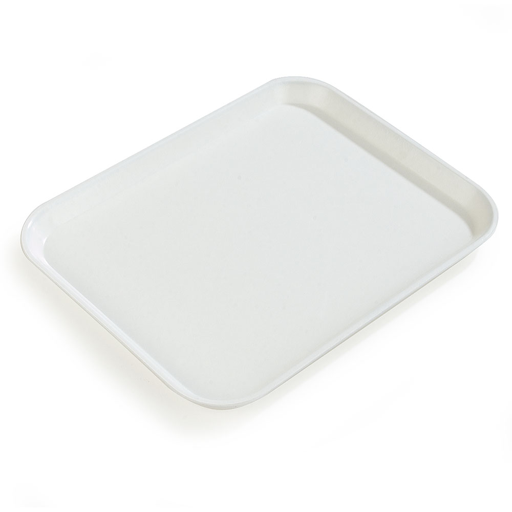 "Carlisle 1612FG001 Rectangular Cafeteria Tray - 16-3/8x12"" Bone White"