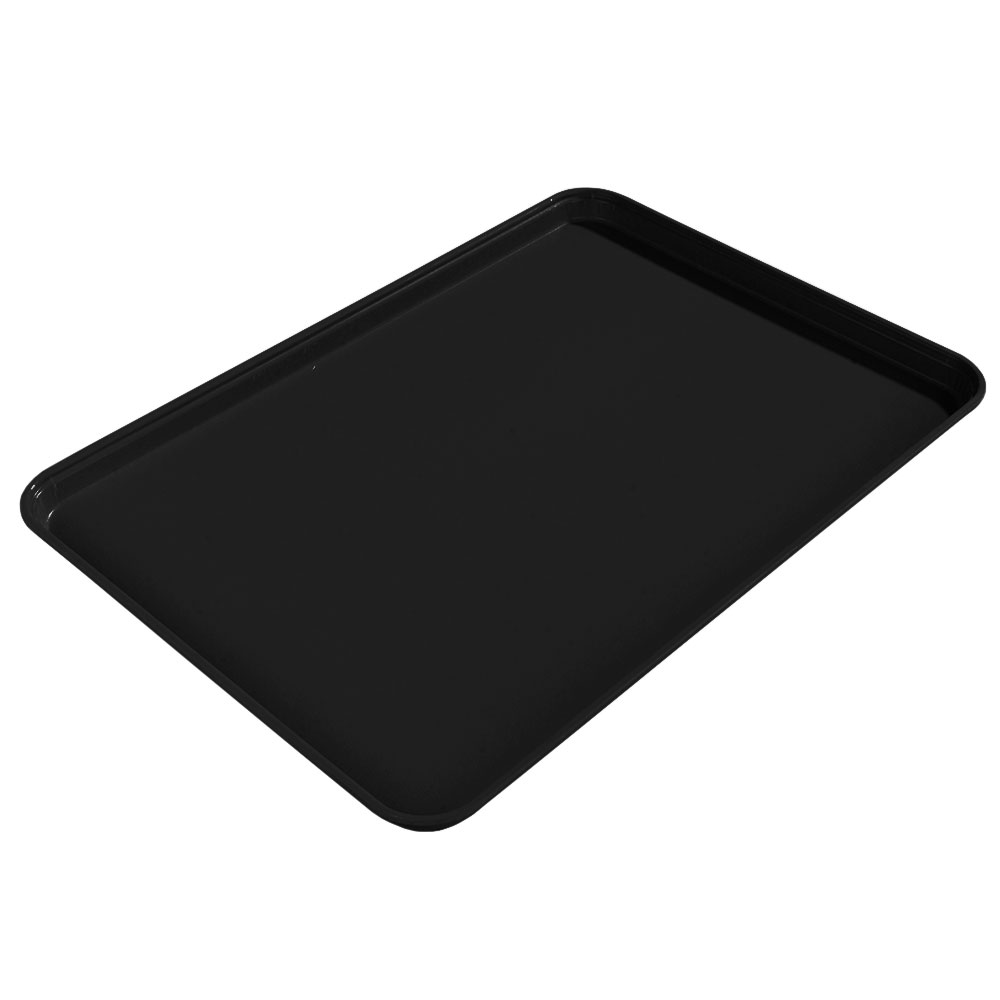 "Carlisle 1612FG004 Rectangular Cafeteria Tray - 16-3/8x12"" Black"