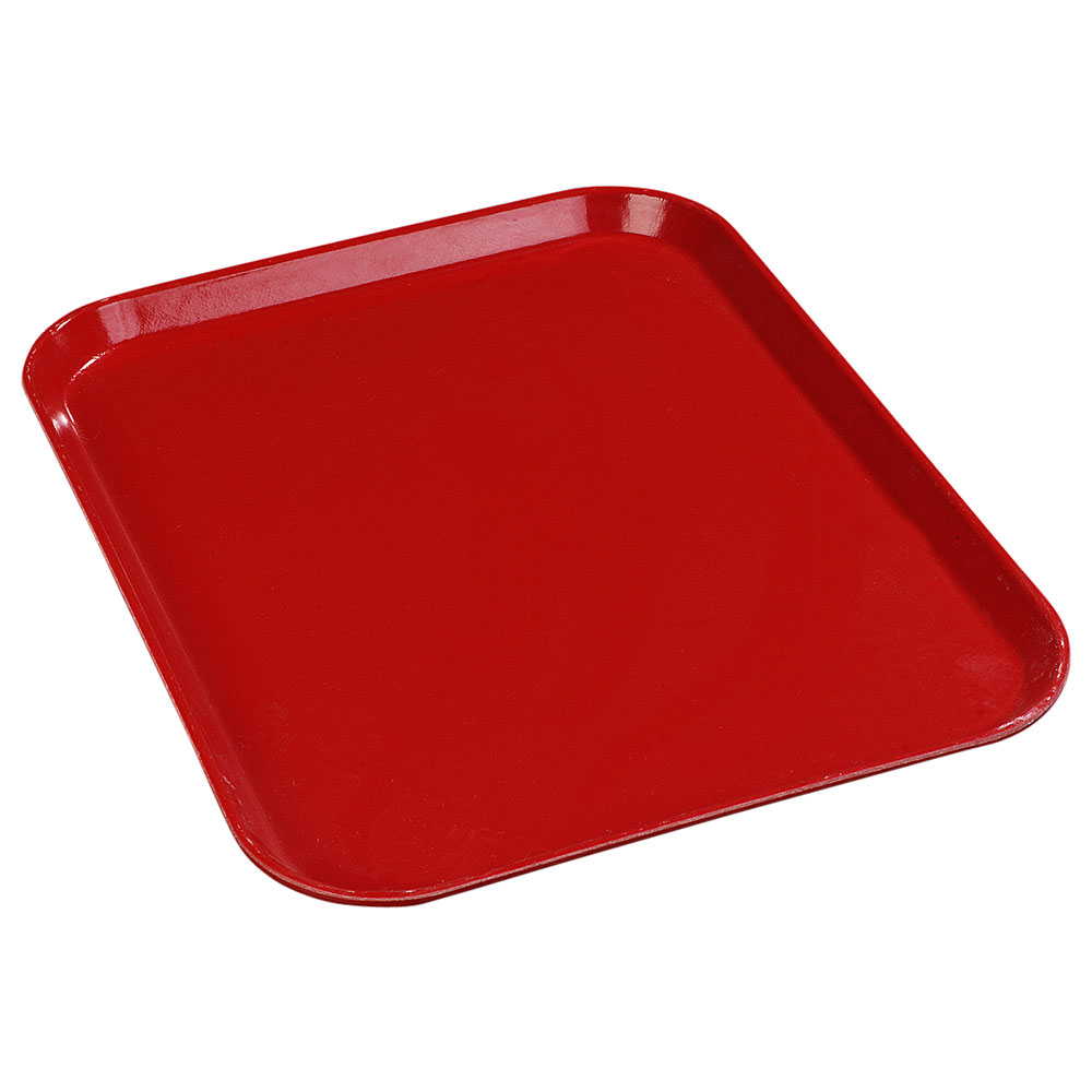 "Carlisle 1612FG017 Rectangular Cafeteria Tray - 16-3/8x12"" Red"