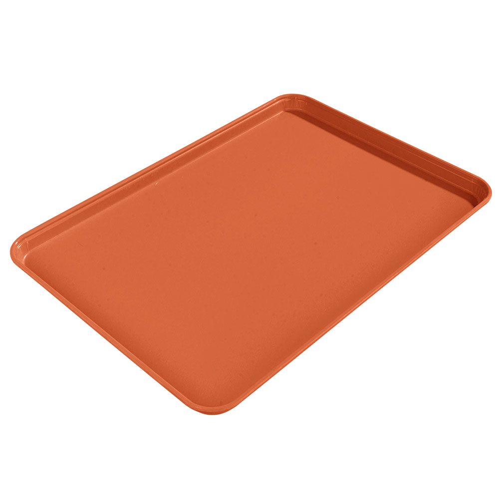 "Carlisle 1612FG018 Rectangular Cafeteria Tray - 16-3/8x12"" Orange"