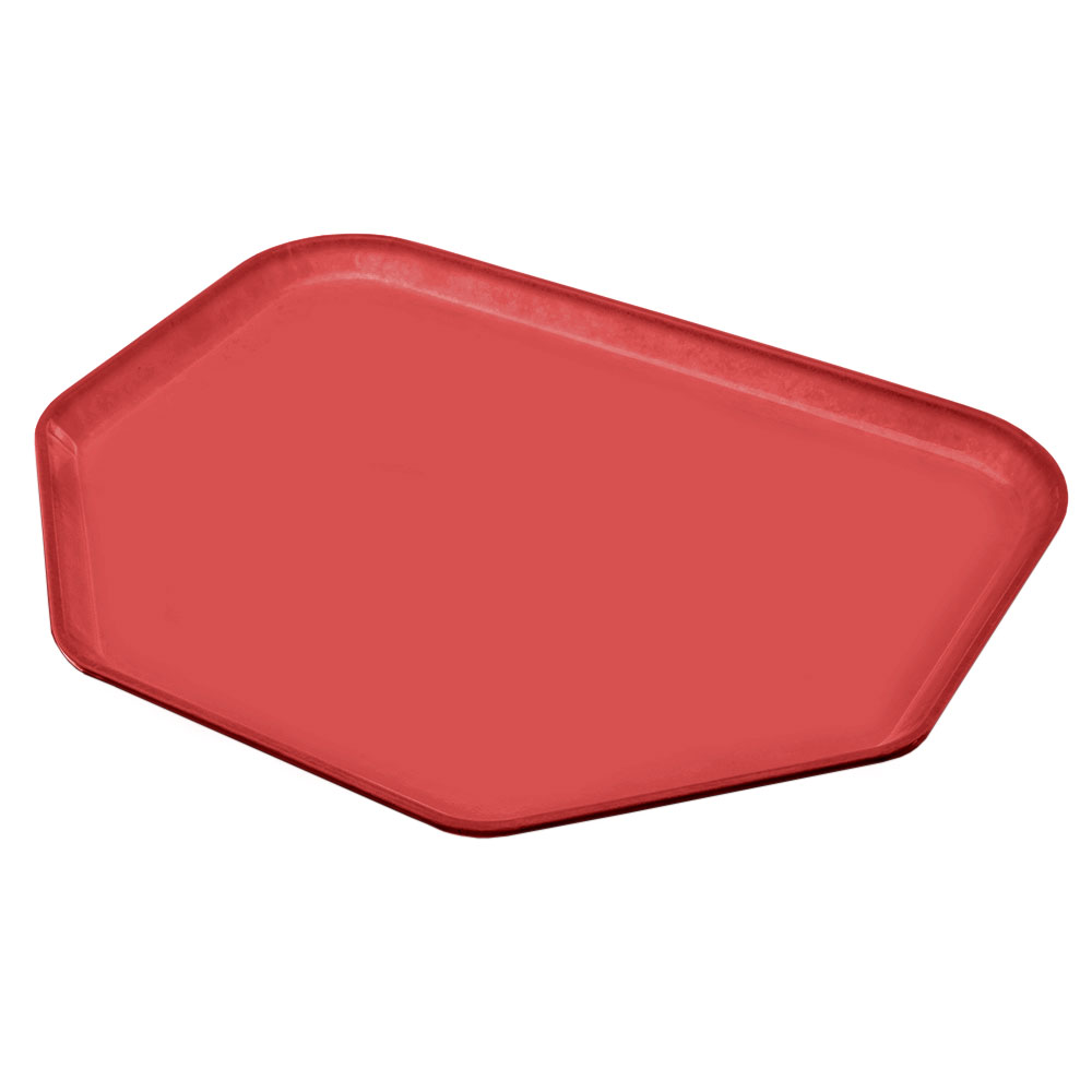 "Carlisle 1713FG020 Trapezoid Cafeteria Tray - 18x14"" Coral"