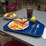 "Carlisle 1713FG050 Trapezoid Cafeteria Tray - 18x14"" Sapphire Blue"