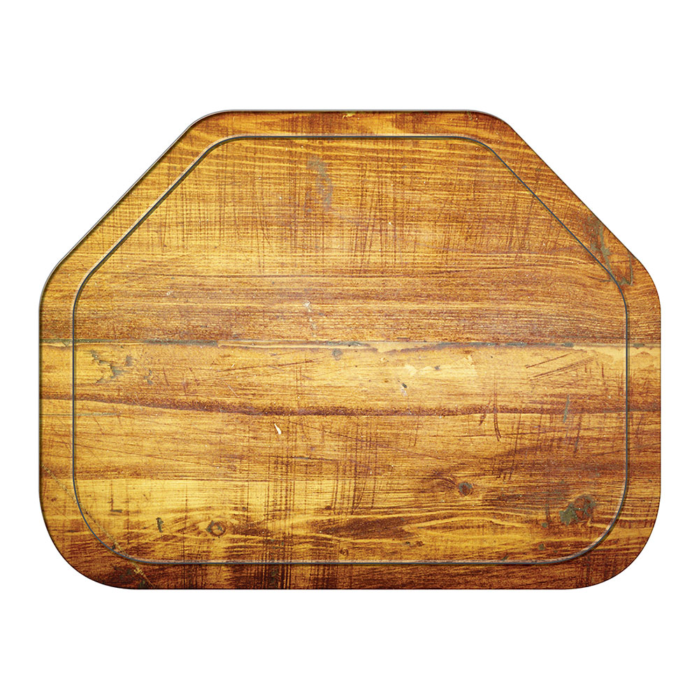 "Carlisle 1713WFG094 Trapezoid Cafeteria Tray - 18x14"" Redwood Woodgrain"