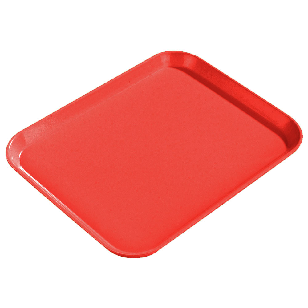 "Carlisle 1814FG017 Rectangular Cafeteria Tray - 18x14"" Red"