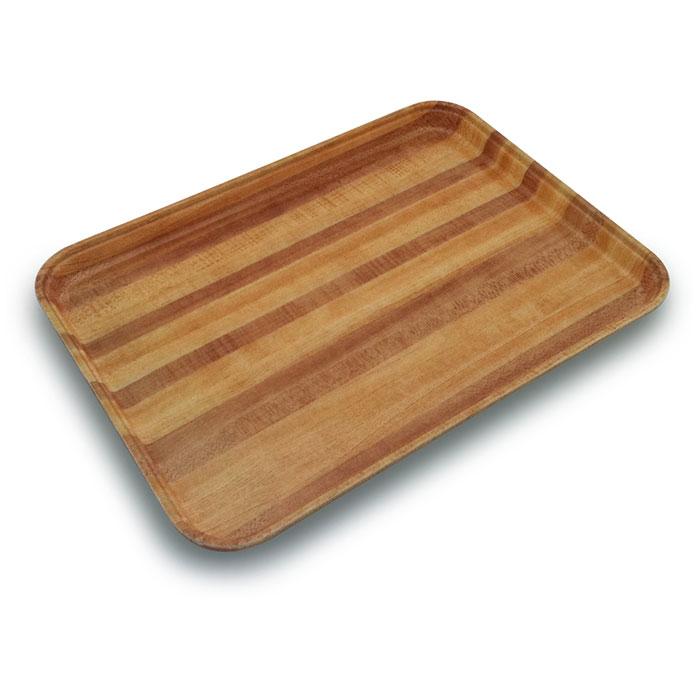 "Carlisle 1814WFG092 Rectangular Cafeteria Tray - 18x14"" Butcher Block Woodgrain"
