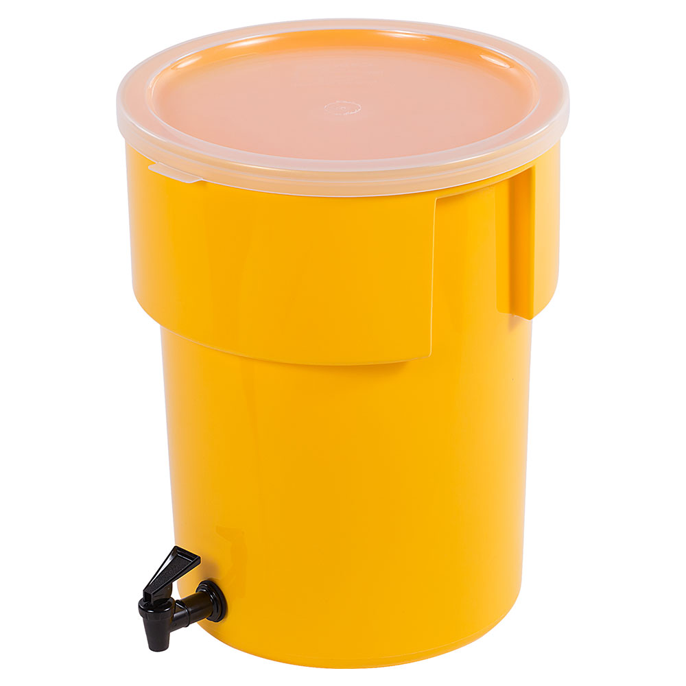 Carlisle 221004 5-gal Round Beverage Dispenser - Polypropylene, Yellow