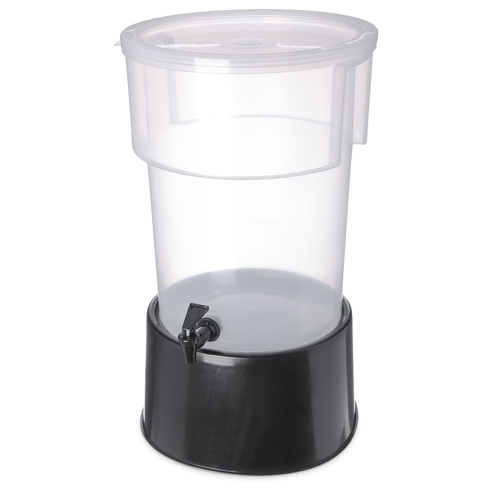 Carlisle 222903 5-gal Round Beverage Server - Polypropylene, Translucent/Black