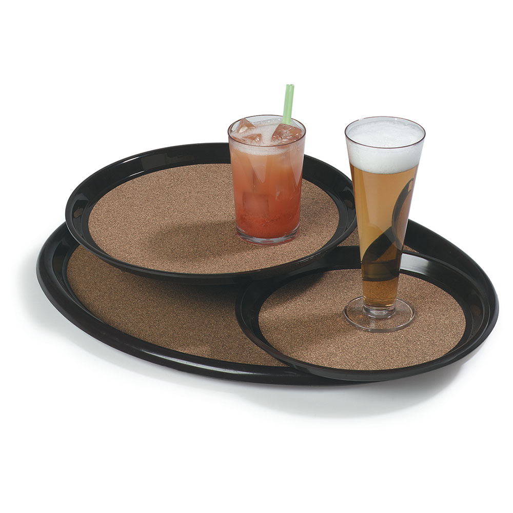 """Carlisle 241901 Oval Serving Tray - 24x19-1/4"""" Brown"""