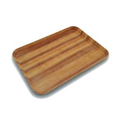 Carlisle 2637WFG092 Rectangular Cafeteria Tray - 37x26.5cm, Butcher Block Woodgrain