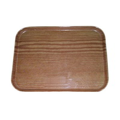 "Carlisle 269WFG094 Rectangular Display/Bakery Tray - 8-3/4x25-1/2"" Redwood Woodgrain"