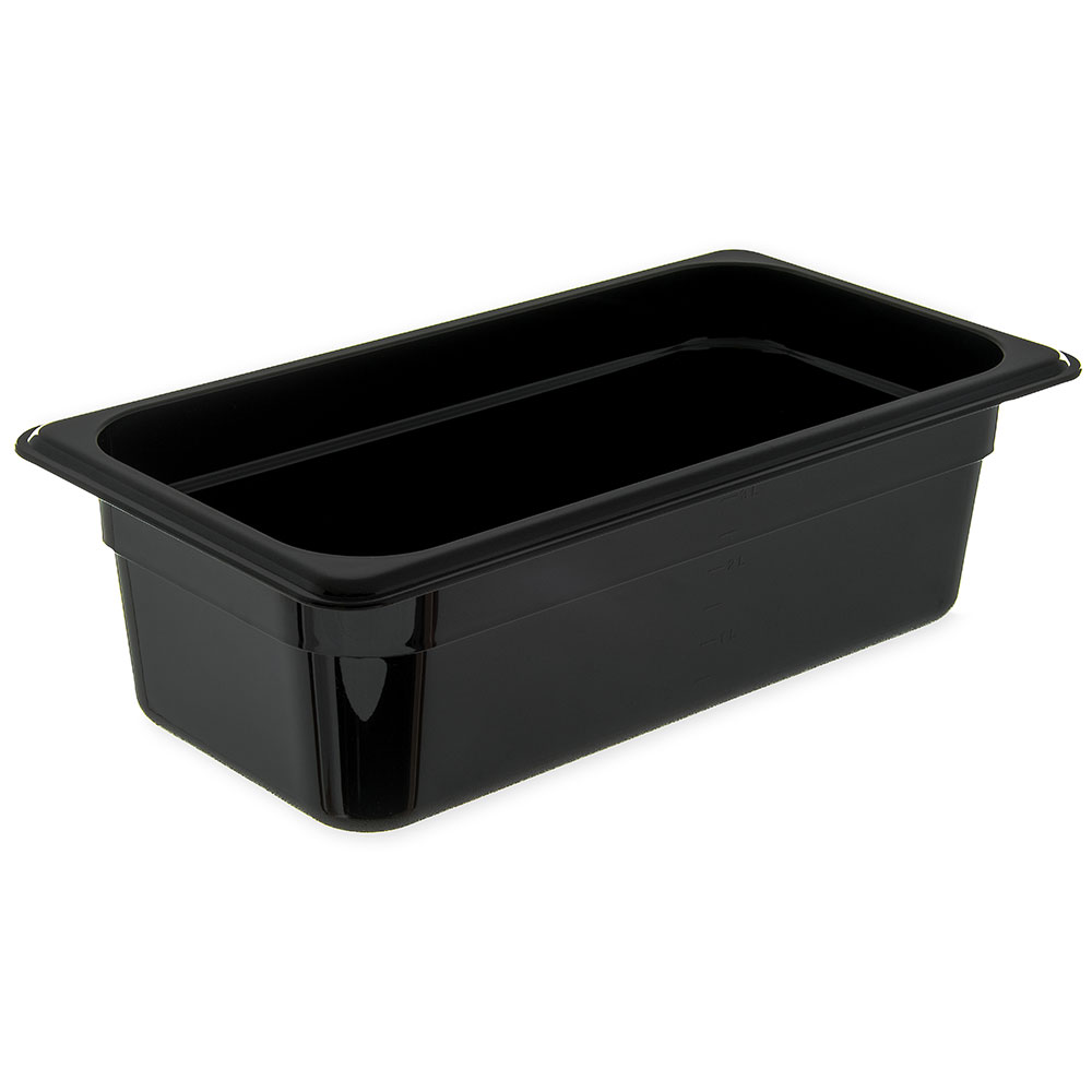 "Carlisle 3066103 1/3 Size Food Pan - 4""D, Black"