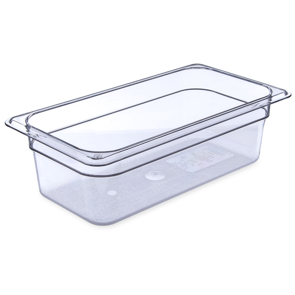"Carlisle 3066107 1/3 Size Food Pan - 4""D, Clear"
