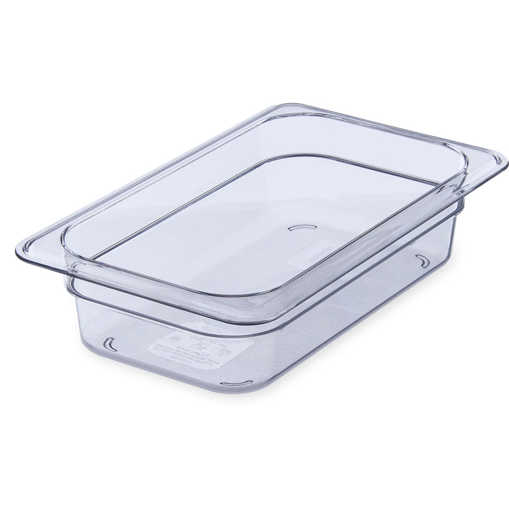 "Carlisle 3068007 1/4 Size Food Pan - 2-1/2""D, Clear"