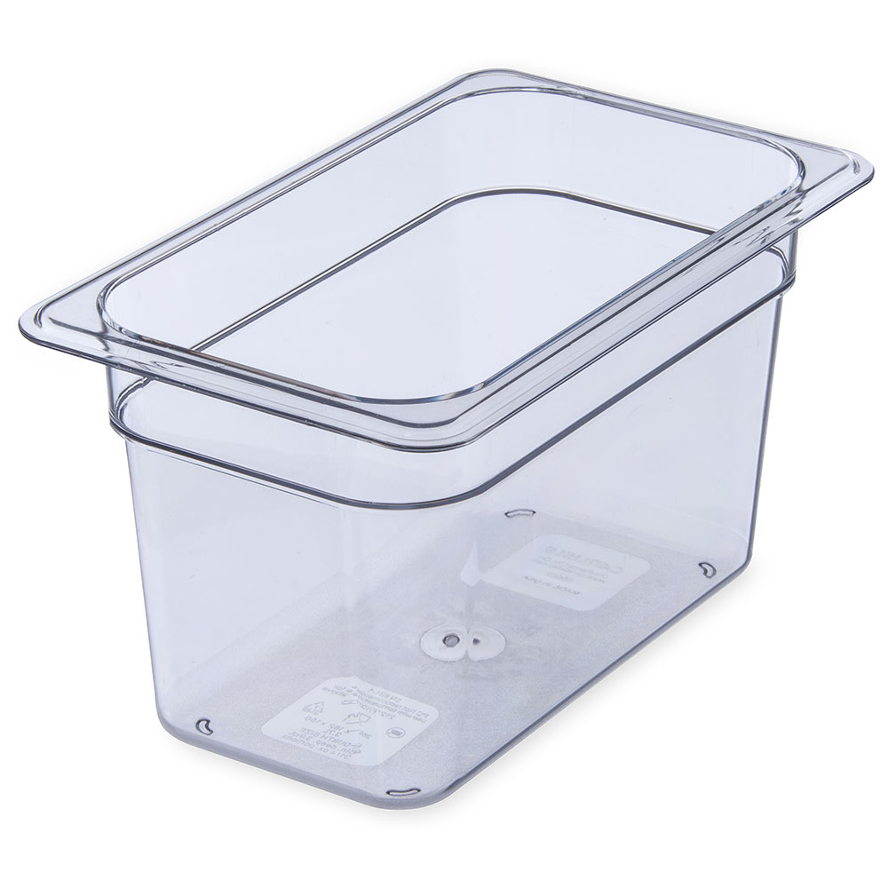 "Carlisle 3068207 1/4 Size Food Pan - 6""D, Clear"