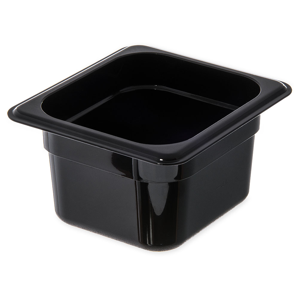 "Carlisle 3068403 1/6 Size Food Pan - 4""D, Black"