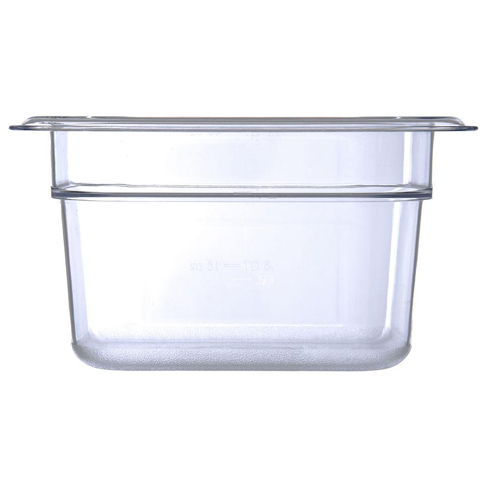 "Carlisle 3068407 1/6 Size Food Pan - 4""D, Clear"