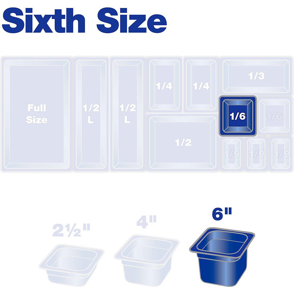 "Carlisle 3068507 1/6 Size Food Pan - 6""D, Clear"
