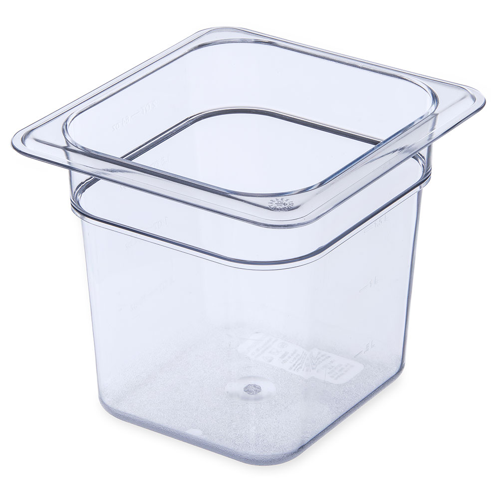 "Carlisle 3068507 1/6 Size Food Pan - 6""D, Clear"