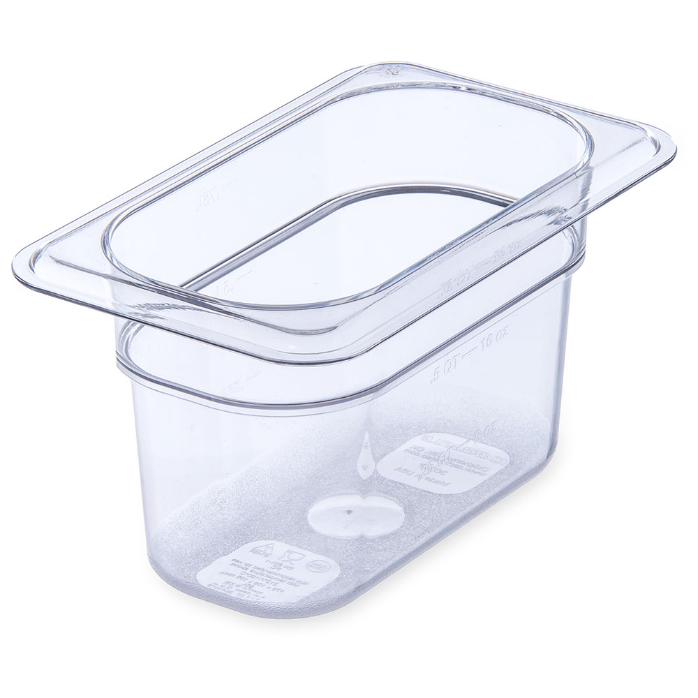 "Carlisle 3068707 1/9 Size Food Pan - 4""D, Clear"