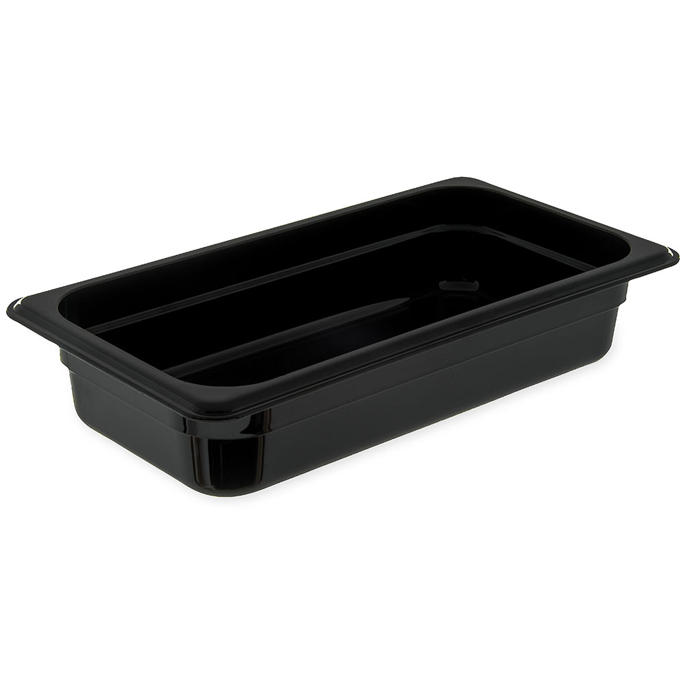 "Carlisle 3086003 High Heat 1/3 Size Food Pan - 2-1/2""D, Black"