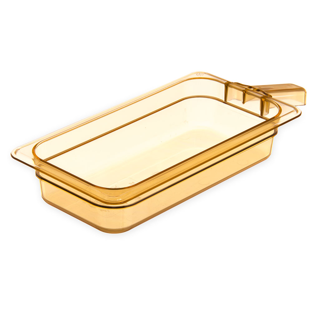 "Carlisle 30860H13 StorPlus High Heat Food Pan w/ Handle - 1/3 Size, 2.5""D, Amber"