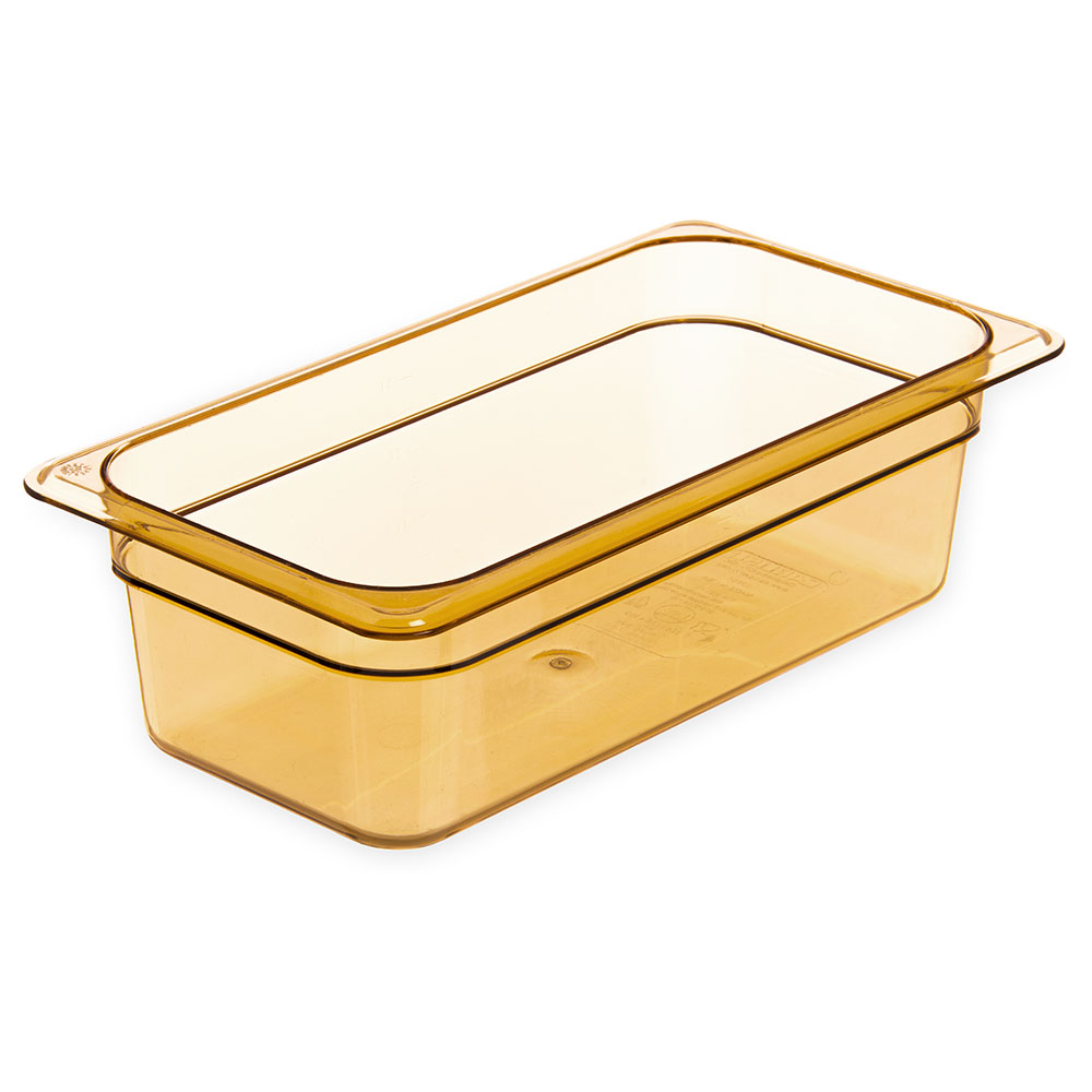 "Carlisle 3086113 High Heat 1/3 Size Food Pan - 4""D, Amber"